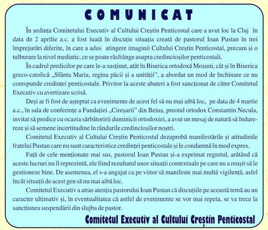 Vladimir Pustan sancţionat din nou de Cultul Penticostal