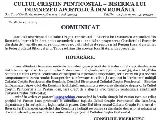 Vladimir Pustan si Ţapoş Adrian nu au drept de a sluji în vreo biserică penticostală! - Comentarii: 42